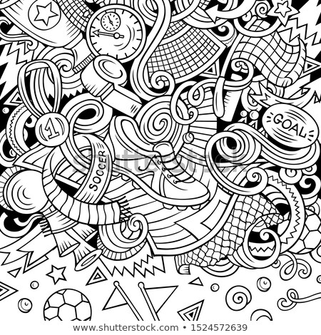 cartoon doodles soccer frame line art with lots of objects background stock photo © balabolka