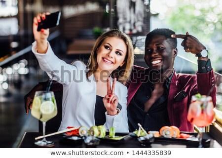 Stockfoto: Gelukkig · paar · sushi · restaurant · technologie