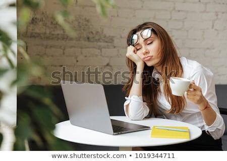 Cansado empresária adormecido sessão mesa de escritório colegas Foto stock © AndreyPopov