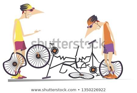 Estrada acidente dois ciclistas quebrado bicicletas Foto stock © tiKkraf69