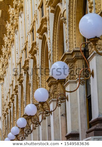 Stockfoto: Old Stylish Lamps In 19th Century Galleria Vittorio Emanuele Ii