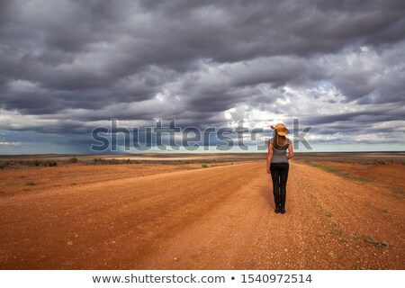 Farm girl watching storm over the arid desert Stock photo © lovleah
