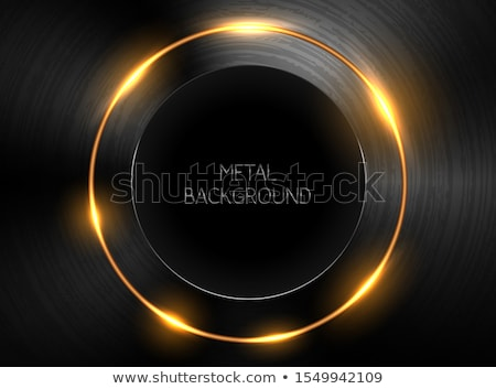 Vector dark realistic textured polished metal backgrund with round black hole at center. Yellow neon Stock photo © Iaroslava