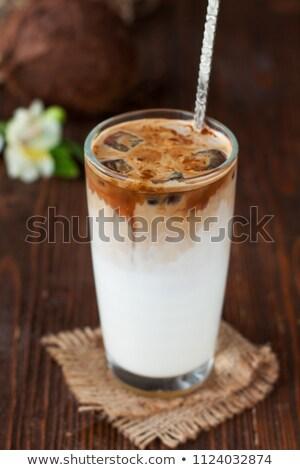 Koffie drinken slagroom chocoladestroop glas cafe Stockfoto © grafvision