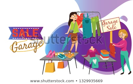 Garage Sale People Selling Second Hand Items Vector Stock photo © robuart