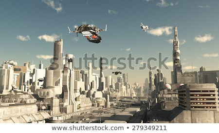 Cena nave espacial voador céu ilustração edifício Foto stock © bluering