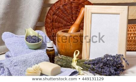Handmade lavender soap with ingredients and utensils Stock photo © dashapetrenko