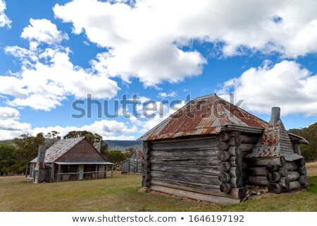 Beautiful log huts of the Snowy Mountains Stock photo © lovleah