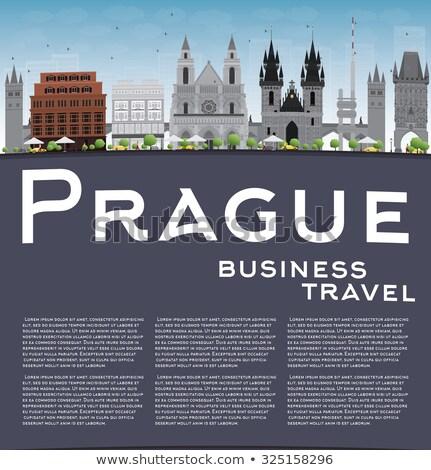 Prag ufuk çizgisi gri mavi gökyüzü bo iş Stok fotoğraf © ShustrikS