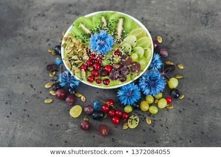 Puchar świeże kiwi Sałatka nasion czerwony Zdjęcia stock © vkstudio