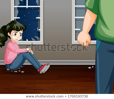 Violence scene with crying girl and angry man at home Stock photo © bluering