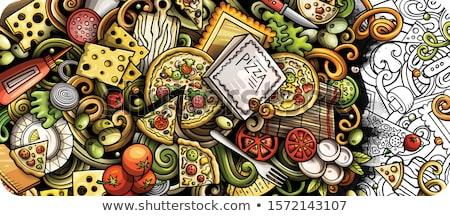 Comida italiana dibujado a mano garabato banner Cartoon detallado Foto stock © balabolka