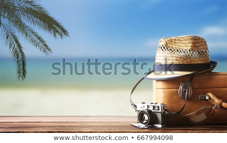 camera, passport, sunglasses and hat on beach sand Stock photo © dolgachov