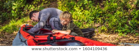 Vader zoon kajak roeien zee banner lang Stockfoto © galitskaya