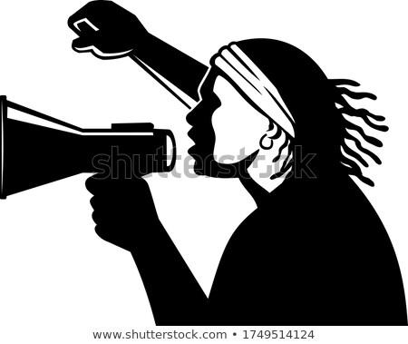 Afro-amerikaanse activist megafoon zwarte retro retro-stijl Stockfoto © patrimonio