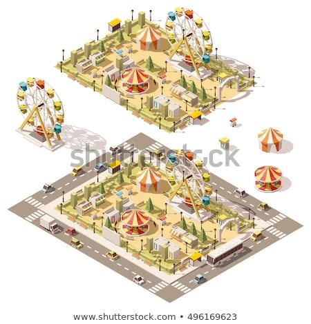 Vektor izometrikus vidámpark térkép park óriáskerék Stock fotó © tele52
