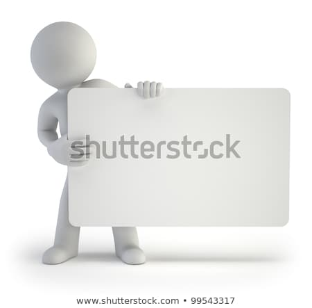Stock photo: 3d small people with empty board