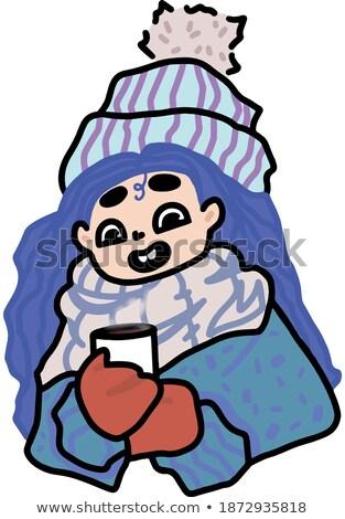 młodych · uśmiechnięta · kobieta · zimą · cap · herbaty · biały - zdjęcia stock © Rob_Stark