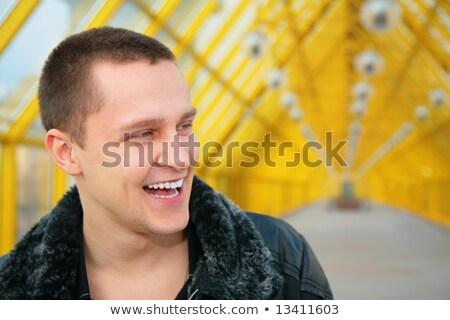 мальчика черный куртка пешеходный мост город стекла Сток-фото © Paha_L