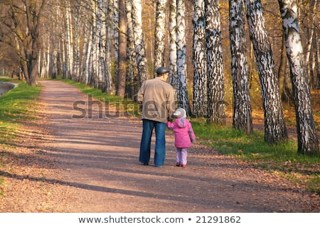 grootvader · kleindochter · handen · hout · najaar · hand - stockfoto © Paha_L
