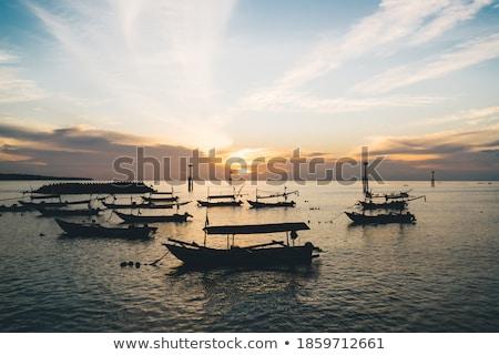 pôr · do · sol · veleiro · Miami · navegação · iate - foto stock © mtilghma