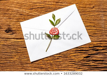envelope with heart wax seal wood background Stock photo © adrian_n