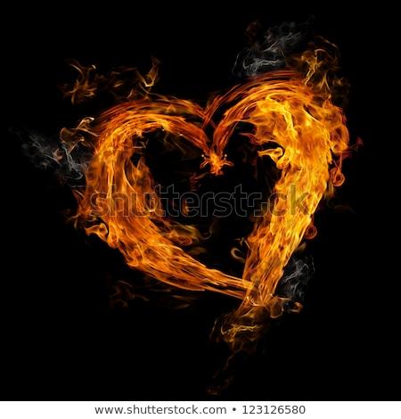 Fuego corazón rojo naranja amarillo llamas Foto stock © marinini