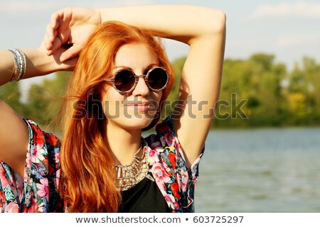 young woman and a wooden frame Stock photo © photography33