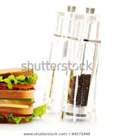 Clássico blt sanduíche de três andares isolado branco Foto stock © zhekos