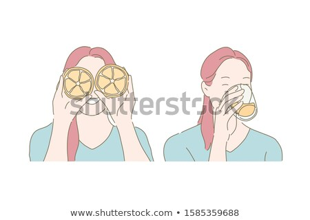 woman eating orange stock photo © ariwasabi
