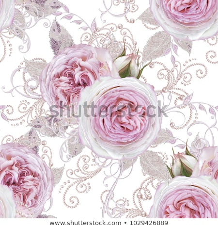 Detail of pink lace pattern fabric with pearl Stock photo © happydancing