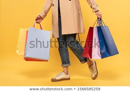 ブロンド 少女 ショッピングバッグ 白 女性 紙 ストックフォト © utorro