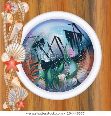 Porthole window with sunk ship, vector illustration Stock photo © carodi