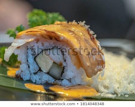 роль таблице продовольствие зеленый лосося Сток-фото © crisp