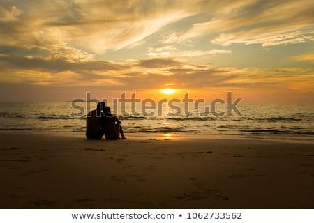 férfi · nő · karok · tenger · naplemente · tengerpart - stock fotó © kotenko