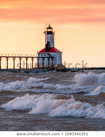 farol · rosa · madrugada · céu · sol · para · cima - foto stock © kenneth_keifer