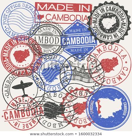вектора Label Камбоджа флаг штампа продажи Сток-фото © perysty