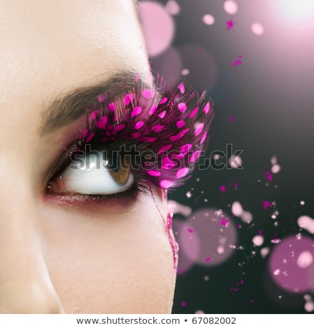 Fashion beauty. Creative woman violet make up, colorful face-art Stock photo © gromovataya