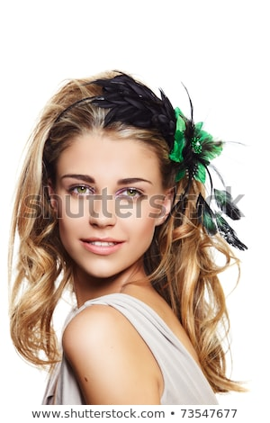 Young beauty woman face. Bright coiffure and make-up Stock photo © gromovataya