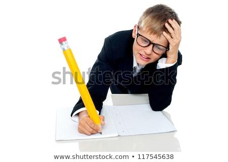 外に · 少年 · 方法 · テスト - ストックフォト © stockyimages