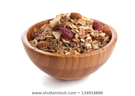 Müsli houten kom lepel voedsel gezondheid Stockfoto © tepic