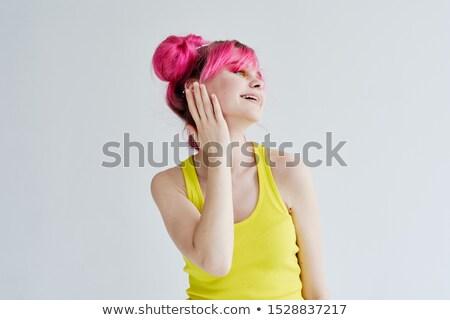 Portré derűs lány napszemüveg kezek modell Stock fotó © acidgrey