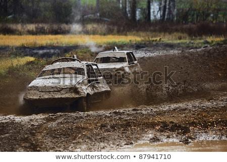 Yarış hayatta kalma iki araba izlemek araba Stok fotoğraf © acidgrey