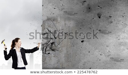 Tradeswoman holding a nail and hammer Stock photo © photography33