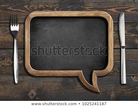 ストックフォト: レストラン · メニュー · 木材 · ボード · 勾配