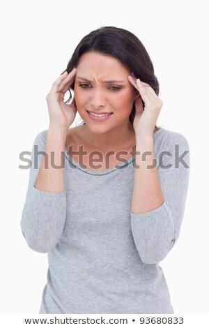 chorych · kobieta · biały · tle · smutne · stres - zdjęcia stock © wavebreak_media