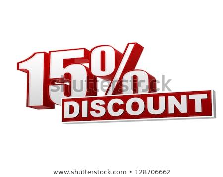 15 százalékok árengedmény piros fehér szalag Stock fotó © marinini