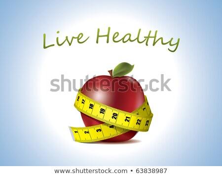 Pera manzanas cinta métrica aislado blanco alimentos Foto stock © vaeenma