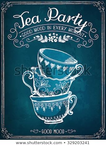 Vintage чай торт Кубок карт горячей Сток-фото © juliakuz