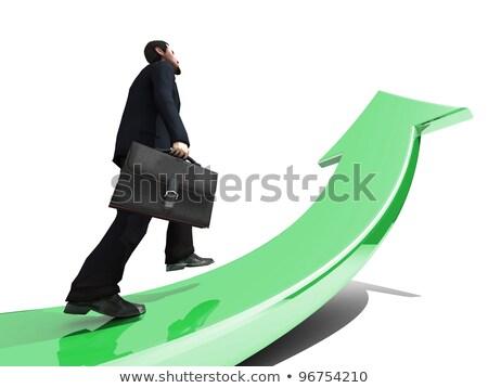 3d emberek tart zöld nyíl siker üzletember Stock fotó © Quka